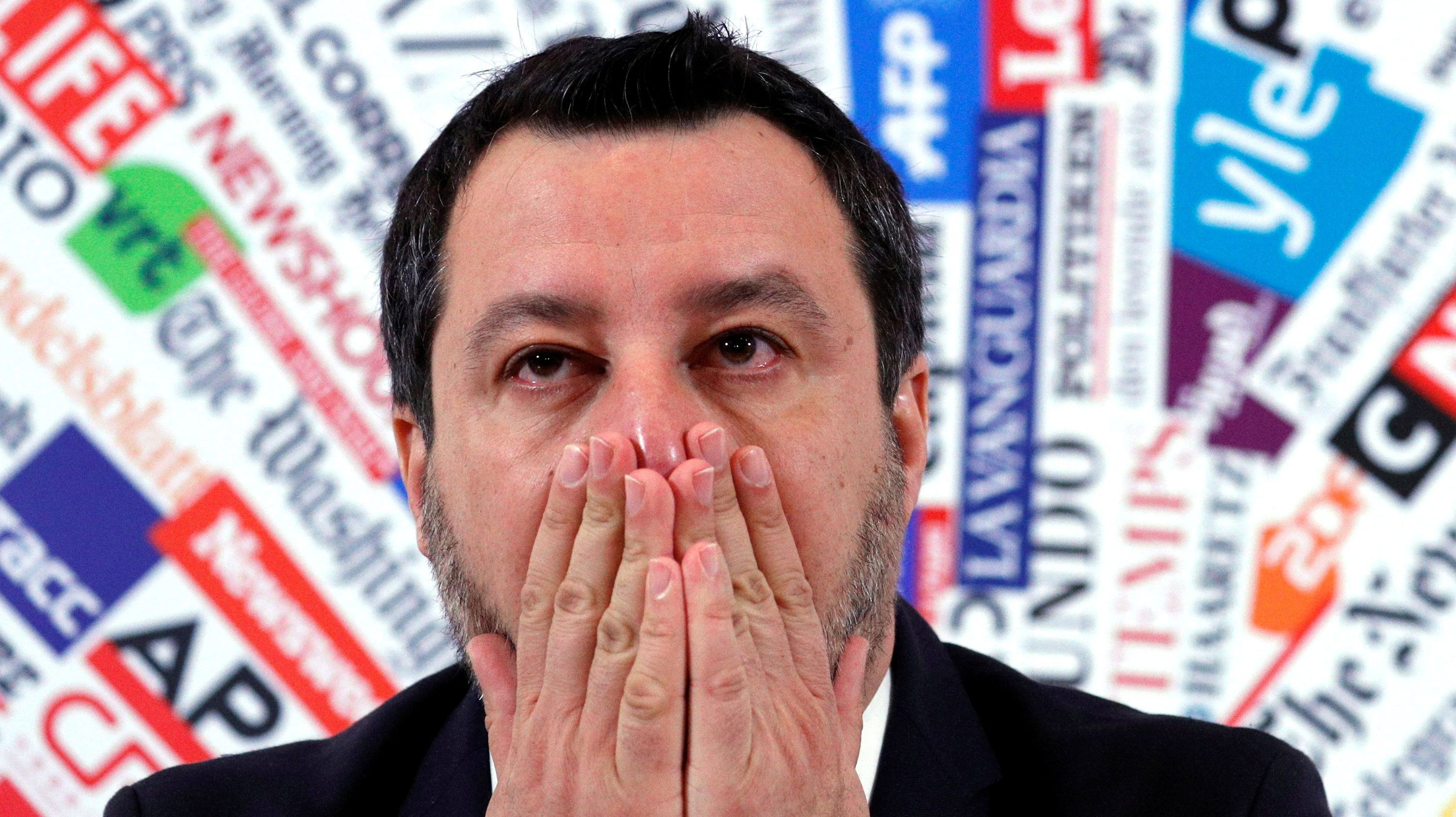 Leader of Italy's far-right party Matteo Salvini gestures during a news conference in Rome