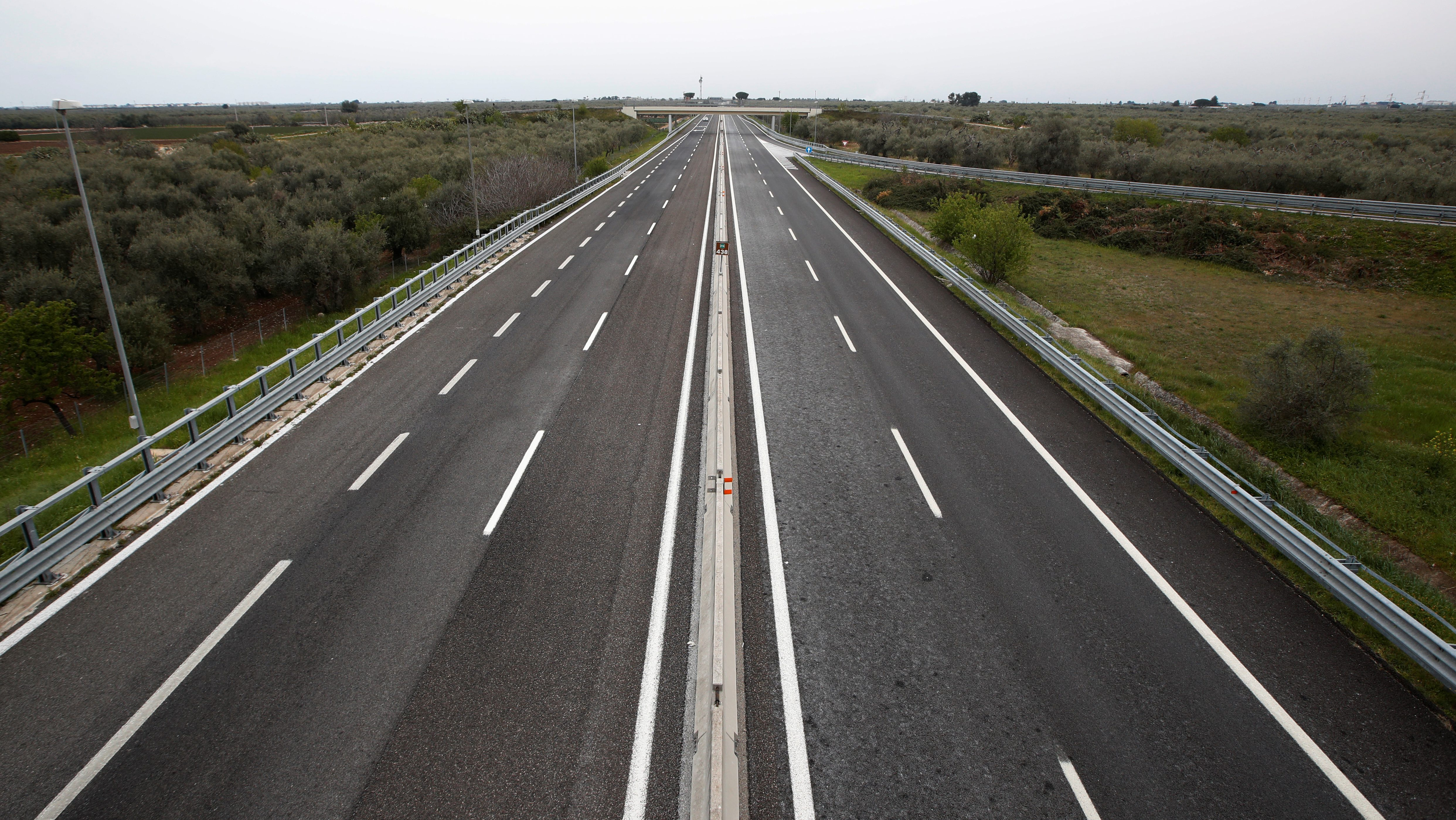 An empty highway in southern Italy.