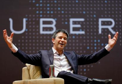 Uber CEO Travis Kalanick speaks to students in Mumbai in 2016.