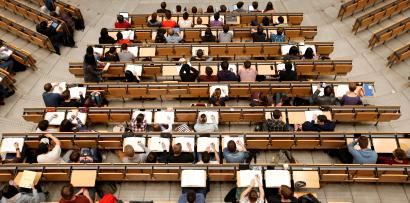 Students attend a lecture in the auditorium of Technical University of Munich.