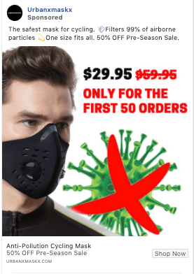 "a Facebook ad from Urbanxmaskx with a picture of a man wearing a mask and a coronavirus molecule X-ed out in bright red. The ad says it's for a ""cycling mask."""