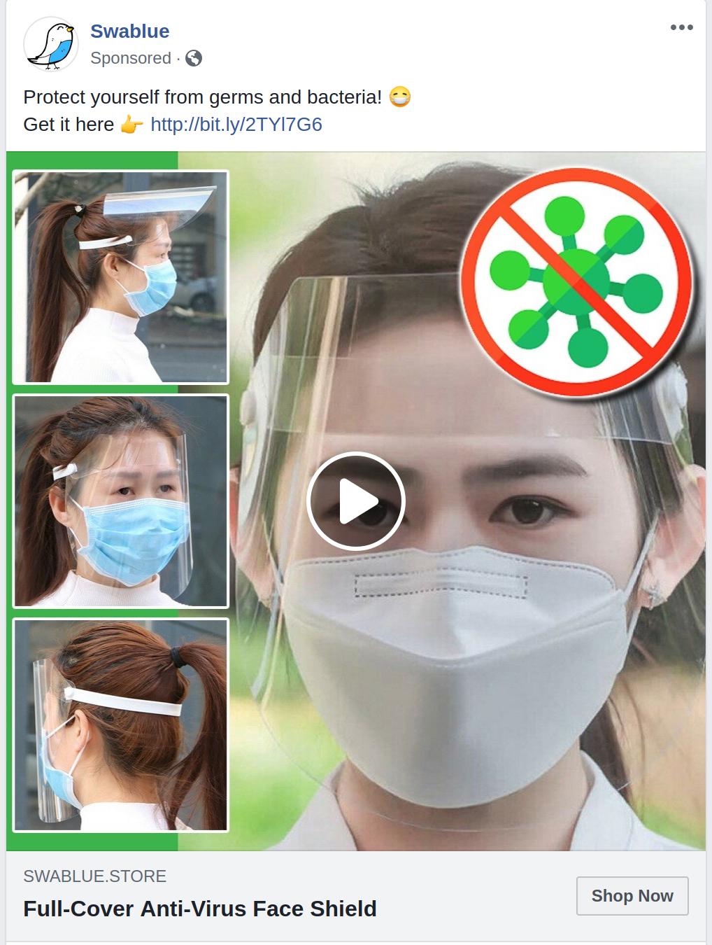 A Facebook ad for a face shield.