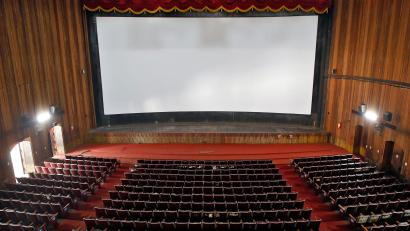 A view of an empty movie theatre after Kerala state government ordered the closure of theatres across the state till March 16, amid coronavirus fears, in Kochi