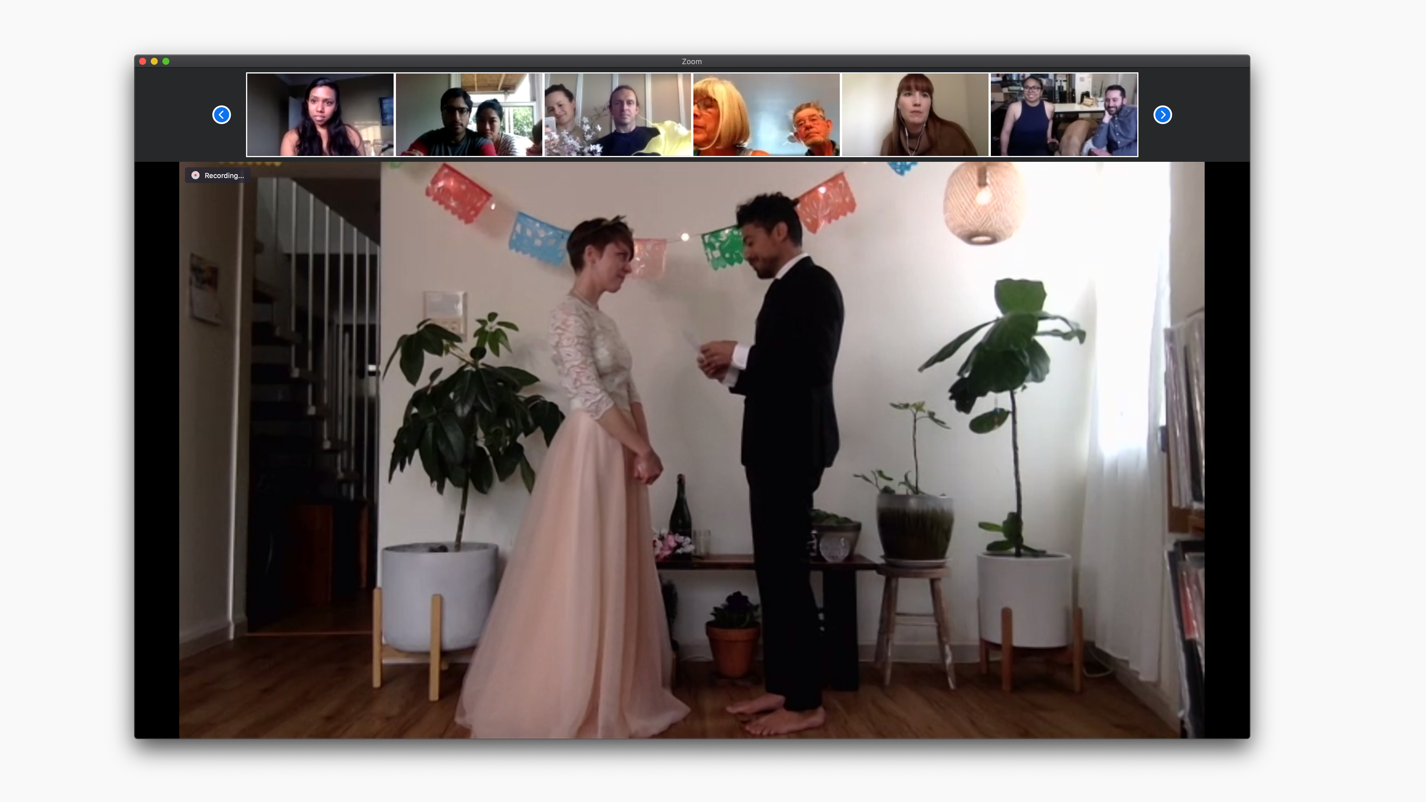 A screenshot of the couple on their zoom wedding.