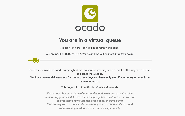 The virtual queue on Ocado.com