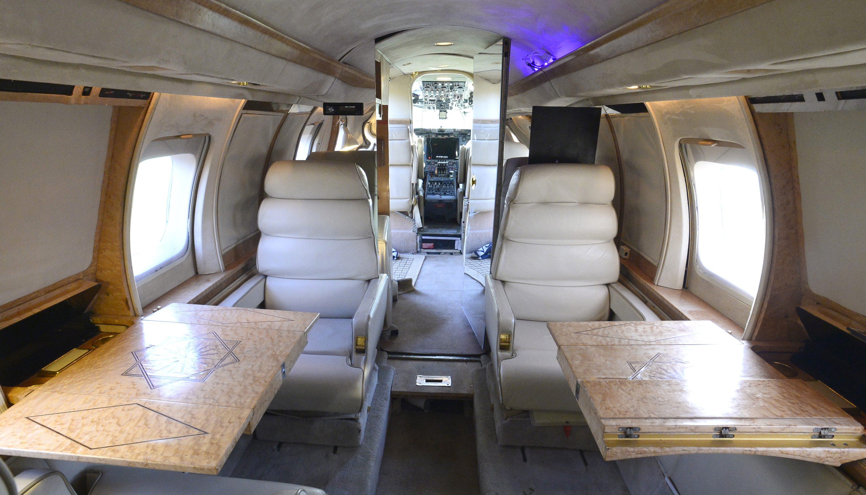 The inside of a luxury Jetstar private jet