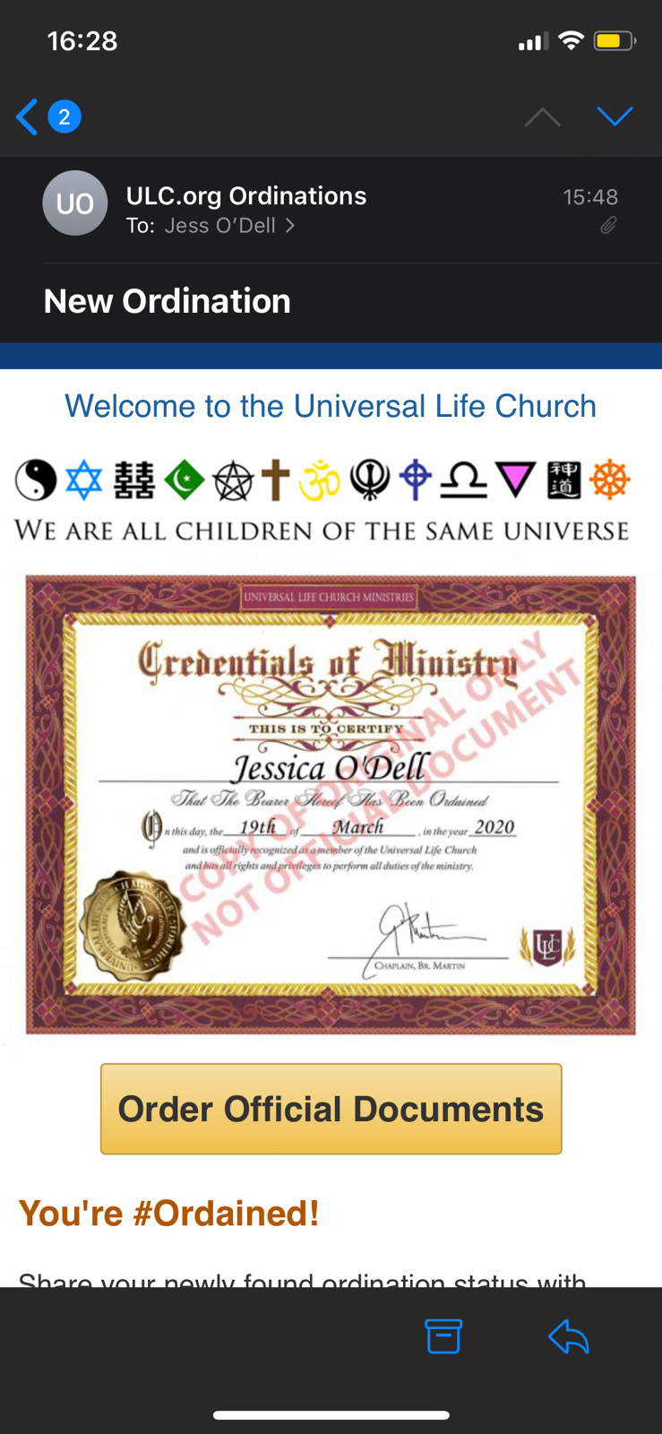 A screenshot of Jess' ordination from the Universal Life Church to marry Christie and Jeff.