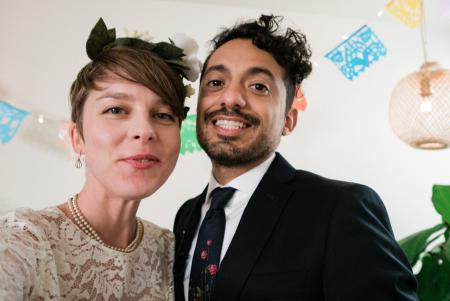 A selflie of the couple on their wedding day.