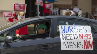 Health care workers drive by UCLA Medical Center to express their support and nurses protesting the lack of N95 respirators and other Personal Protective Equipment