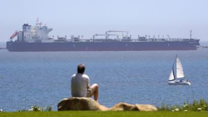 oil tanker off the California beach