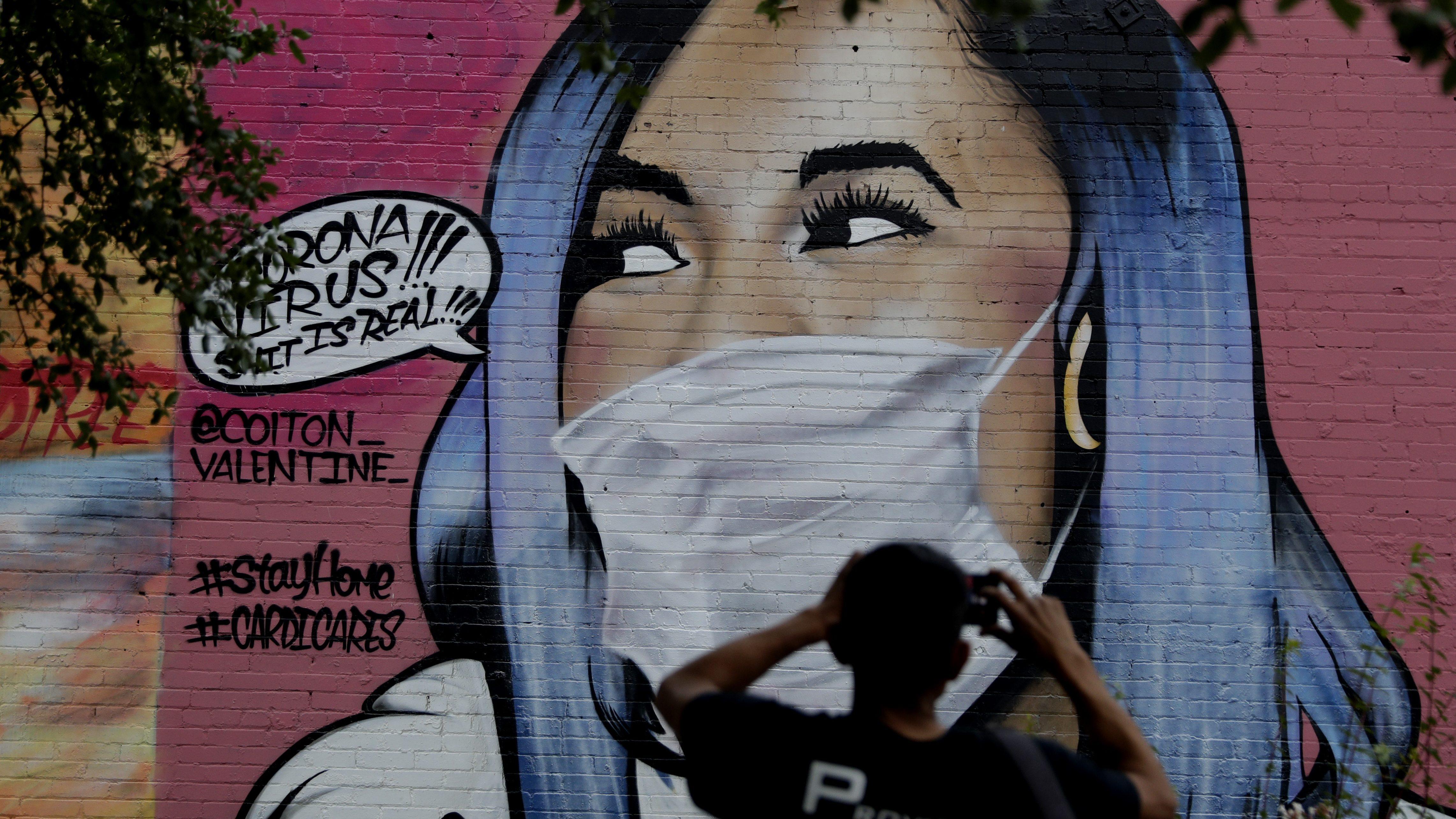 Cardi B wearing a coronavirus face mask.