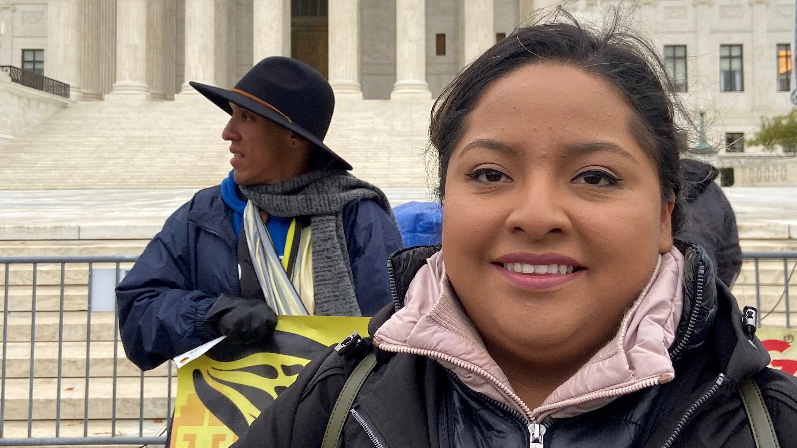 Anel Medina, a 28-year-old DACA enrollee and oncology nurse for Penn Medicine in Philadelphia, outside the US Supreme Court.