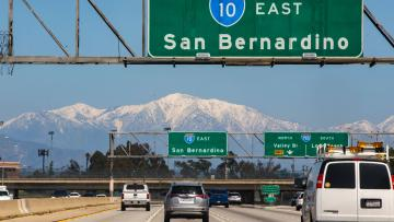 The San Gabriel Mountains are seen from the Interstate 10 in East Los Angeles, Monday, March 30, 2020.