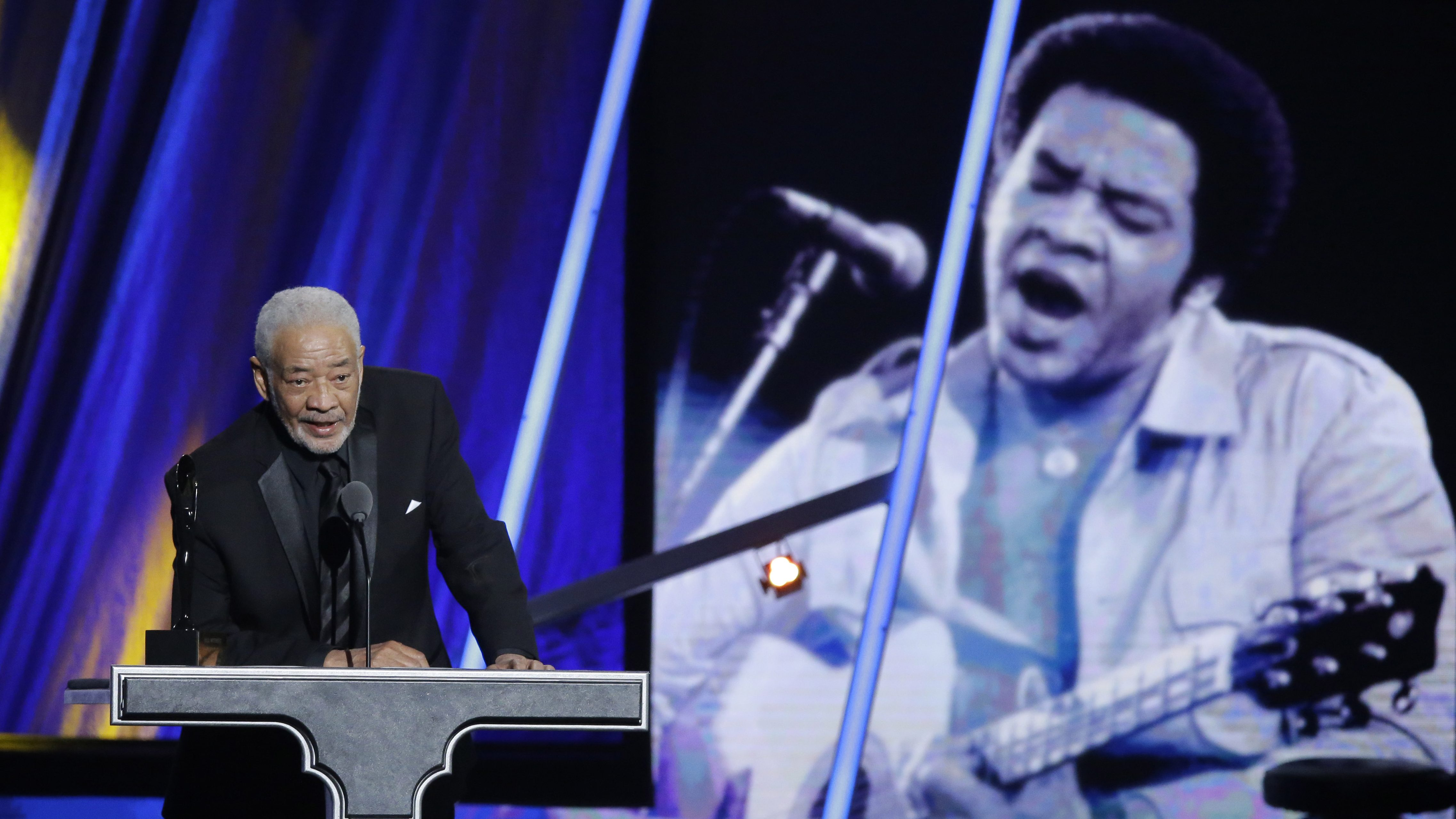 Bill Withers speaks at the Rock and Roll Hall of Fame.