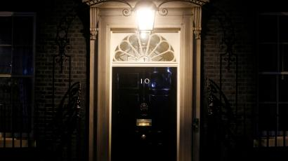 The door of 10 Downing Street in London