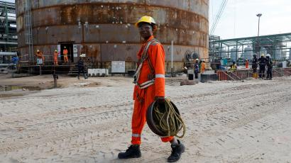 The Dangote Oil Refinery under construction outside Lagos.