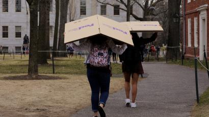 Students carry boxes to their dorms at Harvard University in Cambridge