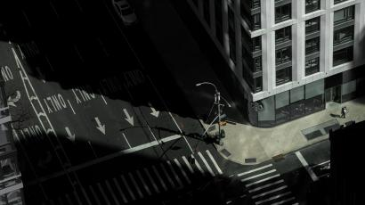 an arial view of an empty NYC street