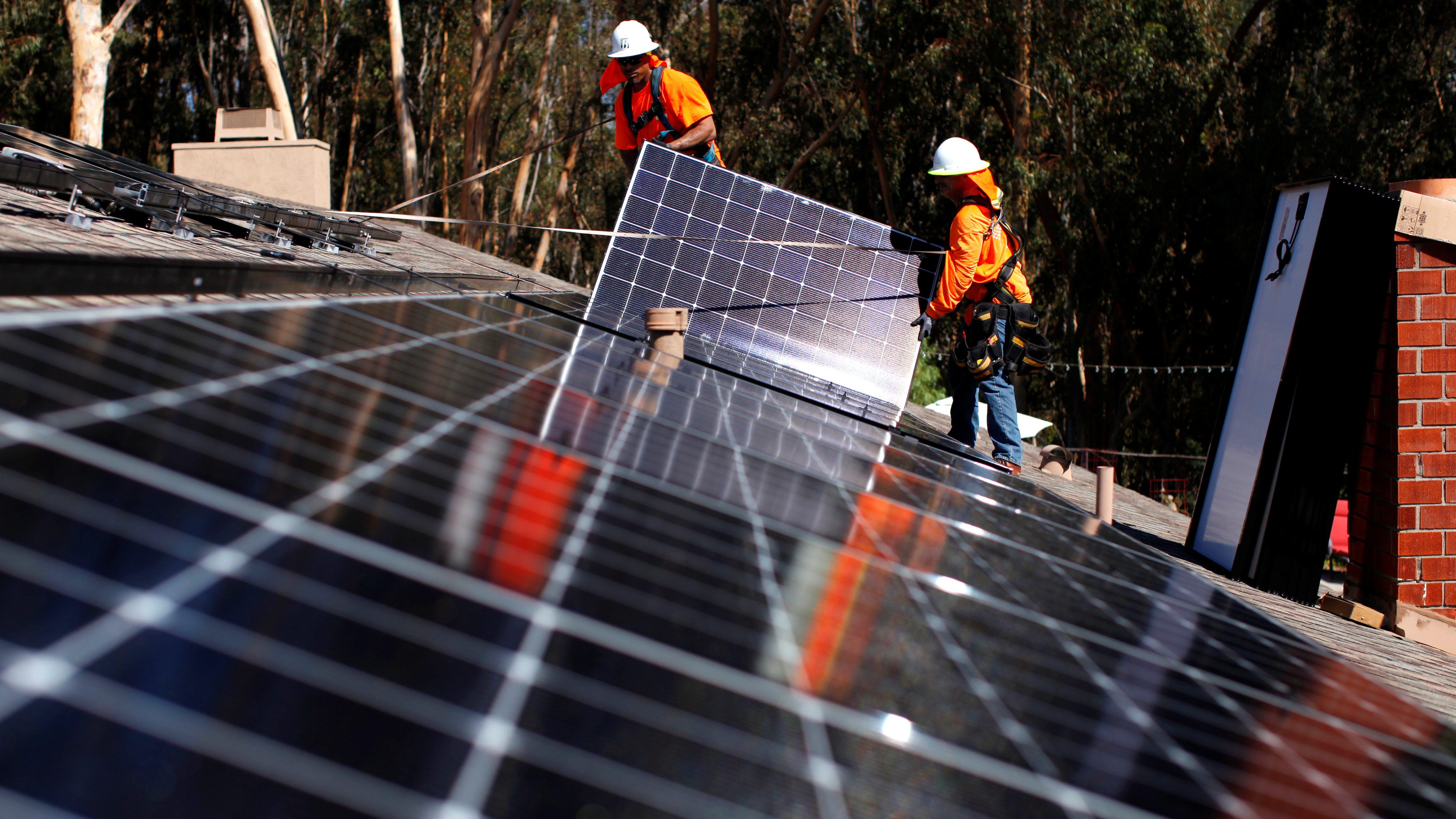 Solar panel installation in California.