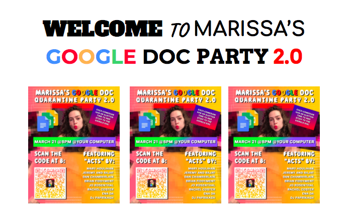 Marissa Goldman invites audiences into her Google Doc Party with colorful, chaotic graphics