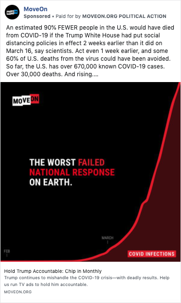 """a Facebook ad from MoveOn.org that says """"the worst failed national response on earth"""" over a chart of the exponential rise in coronavirus cases"""