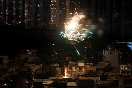 Firecrackers in a residential colony in Greater Noida, on the outskirts of Delhi.