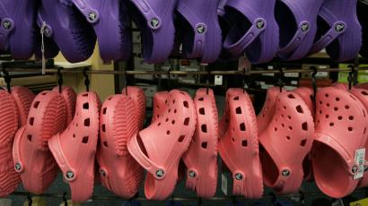 Crocs shoes on display at a store