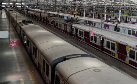 Trains stand parked at the Chhatrapati Shivaji Maharaj Terminus in Mumbai after the coronavirus lockdown was announced on March 24.