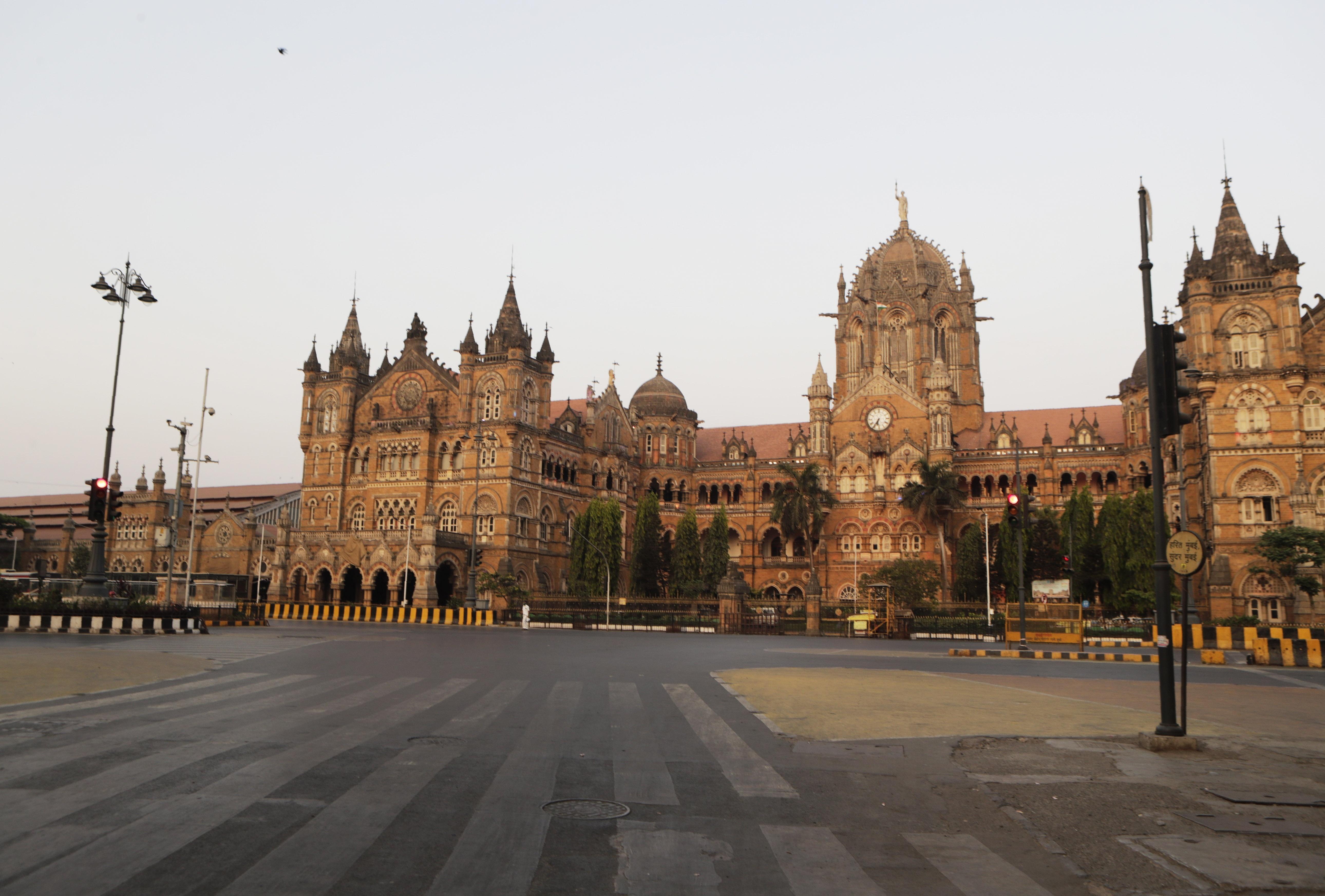 Chhatrapati Shivaji Maharaj Train Terminus in Mumbai is completely empty.