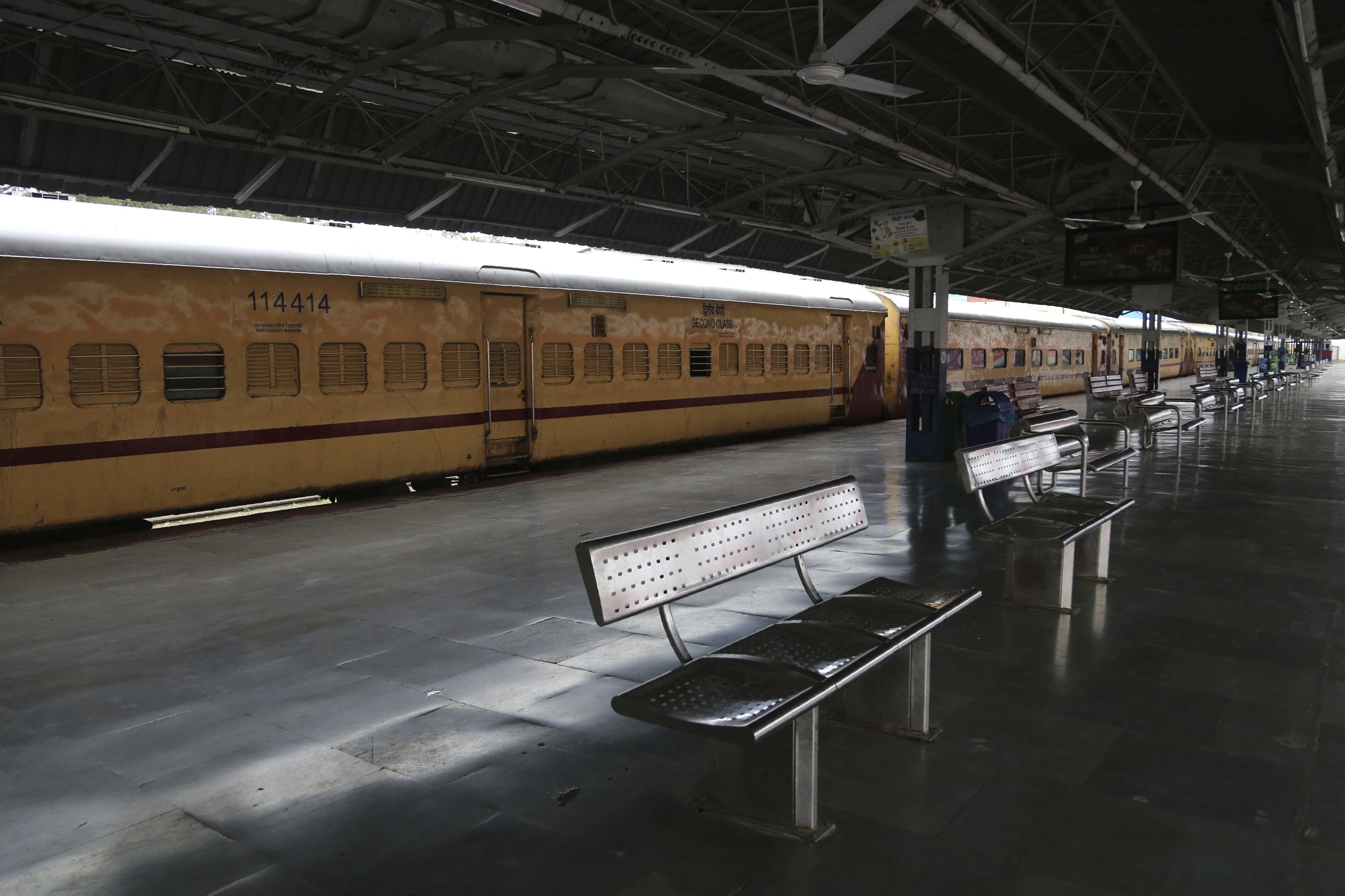 The deserted train station in Jammu during the coronavirus lockdown.