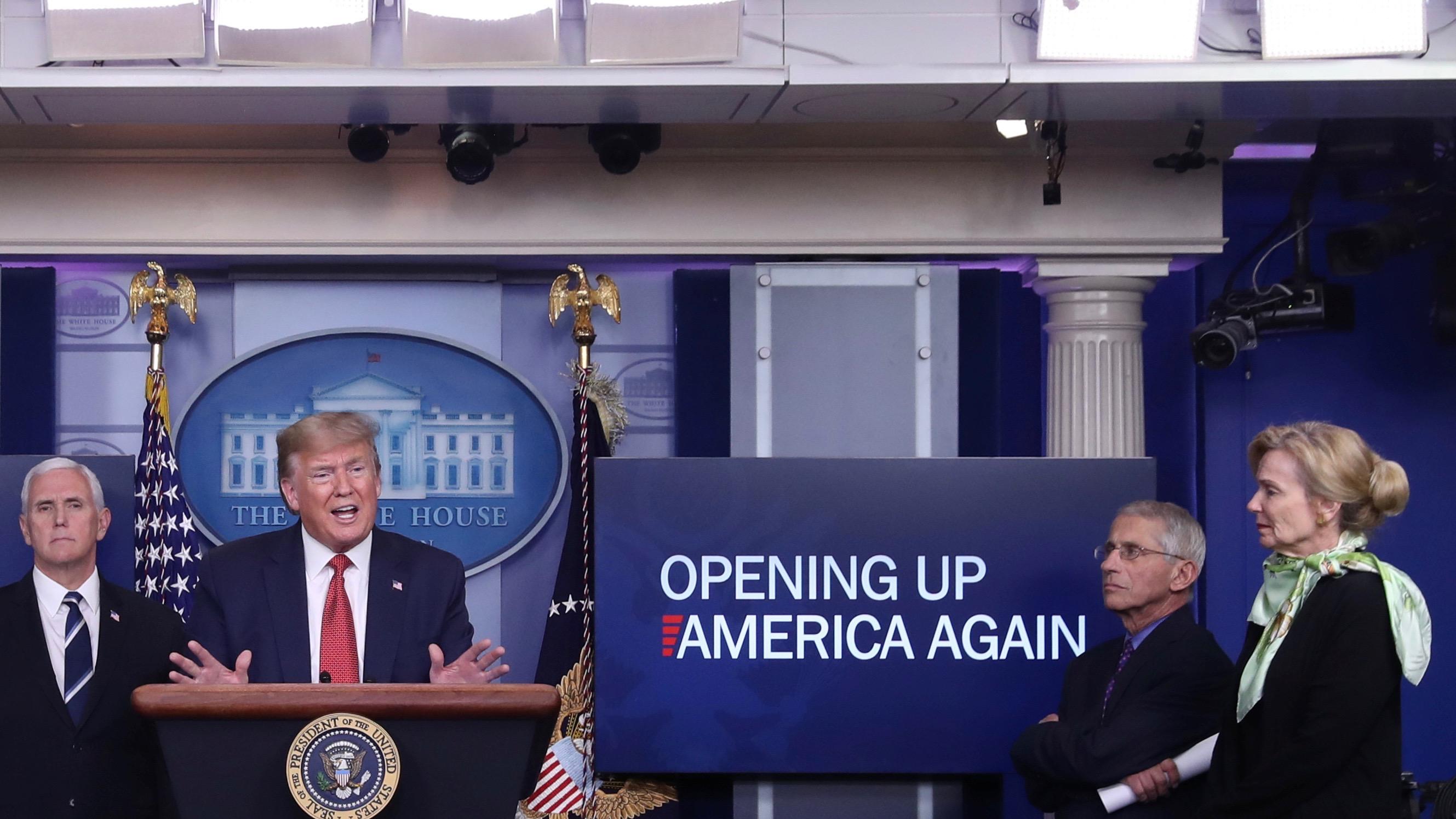 Coronavirus briefing with president Donald Trump.