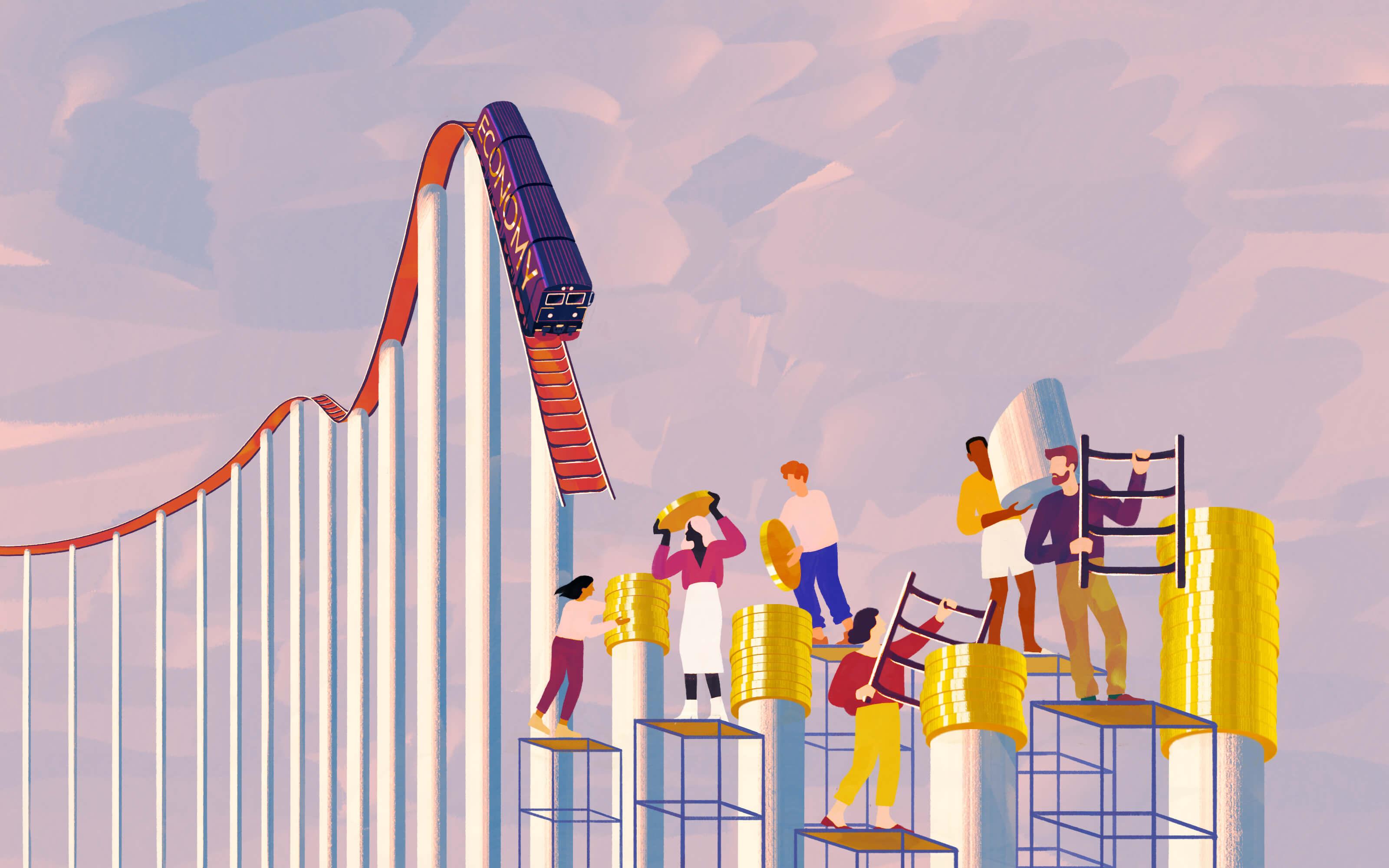 Illustration of rollercoaster