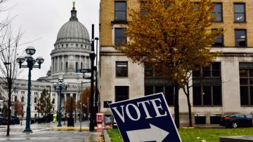 Madison. Wisconsin. Sign directing voters to polling place.