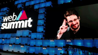 Edward Snowden speaks at a conference in Lisbon.