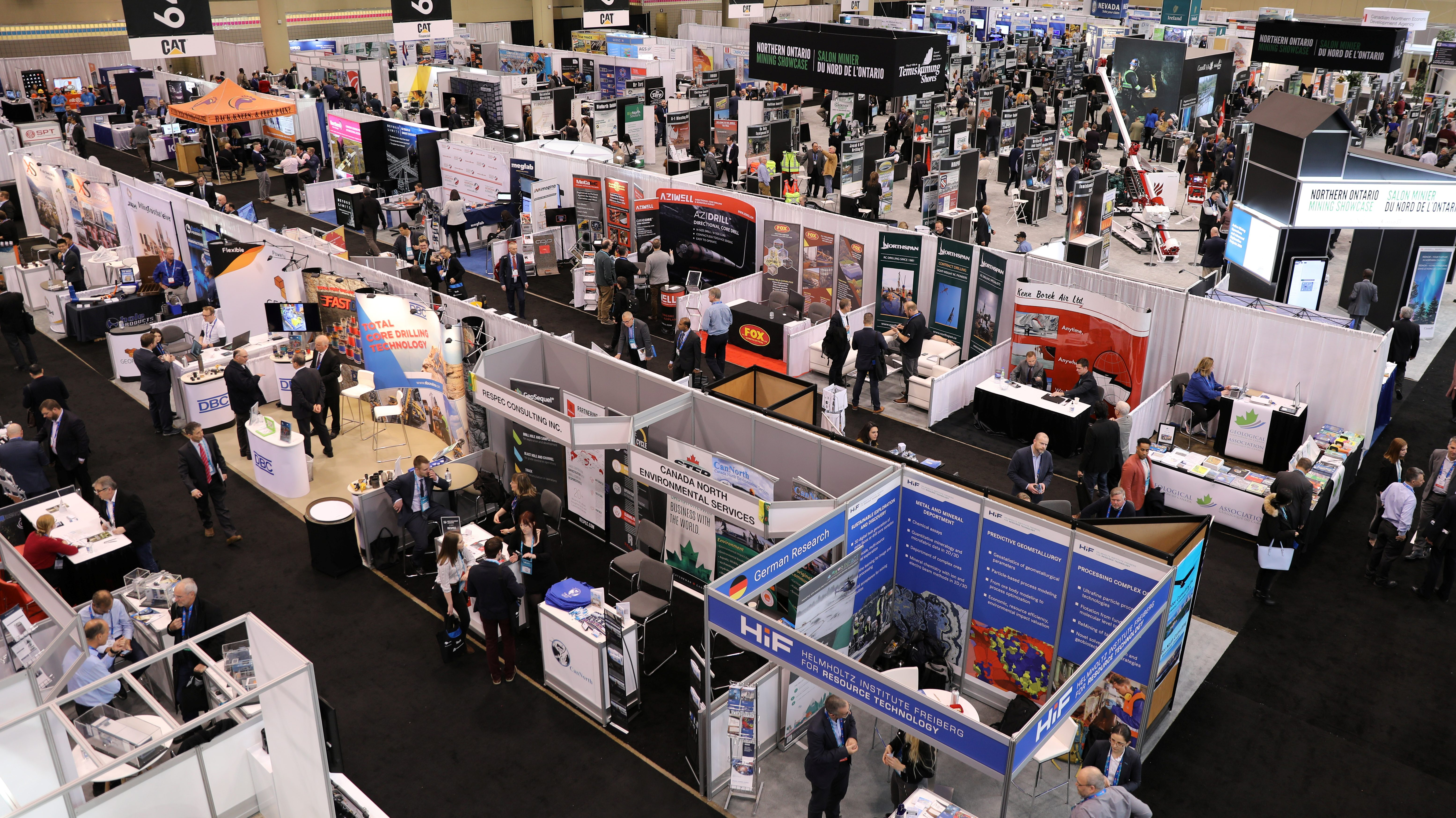 Visitors crowd booths at at the Prospectors and Developers Association of Canada (PDAC) annual conference in Toronto, Ontario, Canada March 1, 2020.