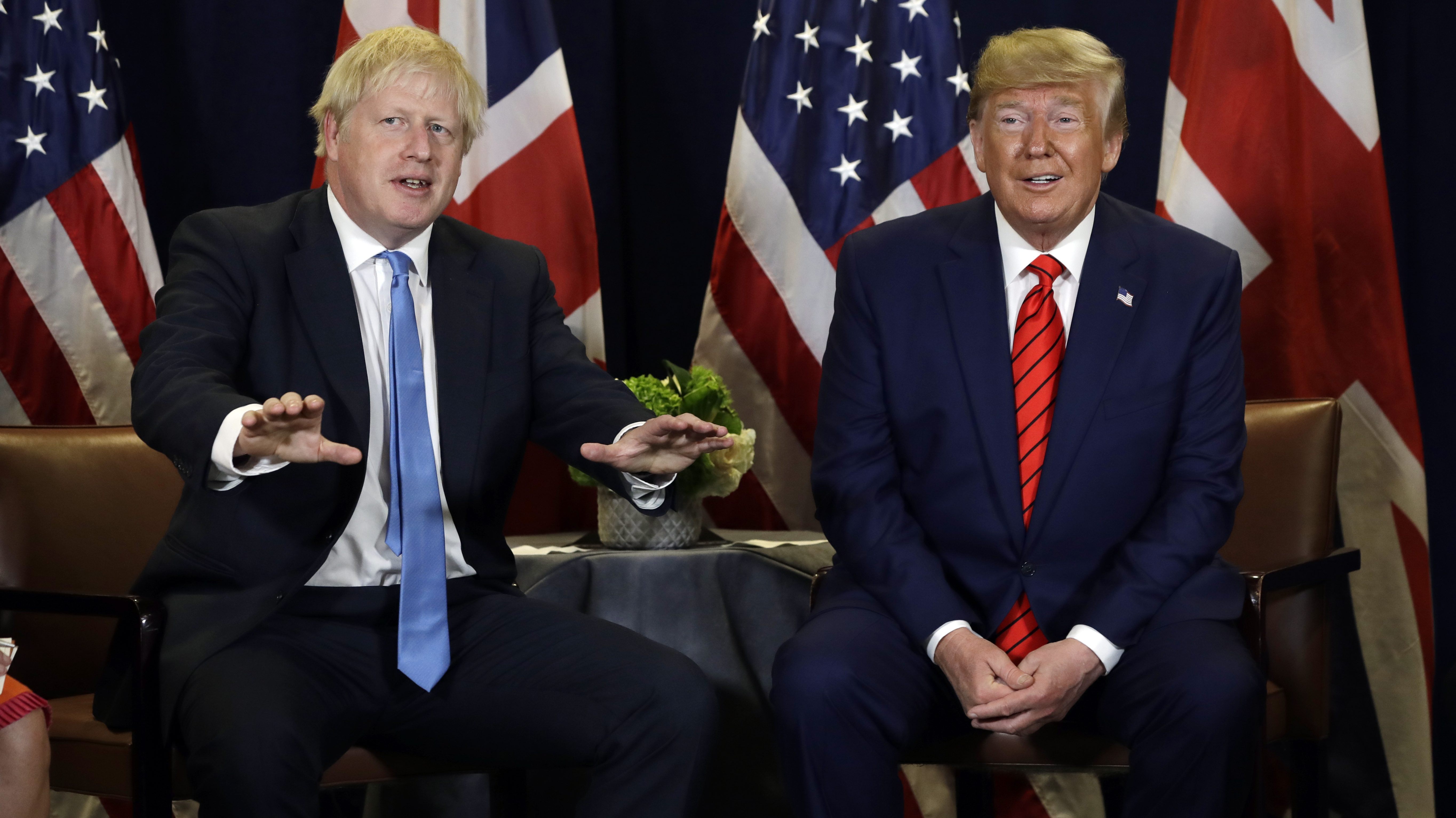 President Donald Trump meets with British Prime Minister Boris Johnson at the United Nations General Assembly, Tuesday, Sept. 24, 2019, in New York.