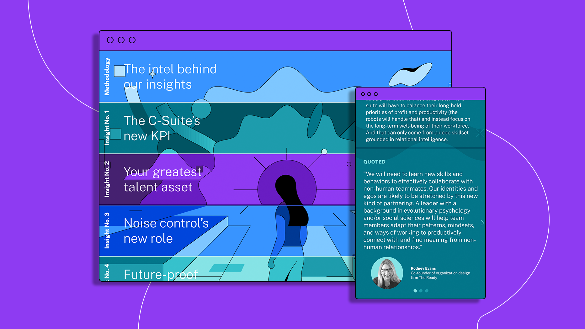 Screengrabs of desktop and mobile display of Citrix WX report against purple background