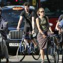 People cycle into the City during the morning rush hour in London