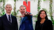 French Culture Minister Franck Riester, Reed Hastings, co-founder and CEO of Netflix and Paris Mayor Anne Hidalgo attend the inauguration of Netflix new offices in Paris in January