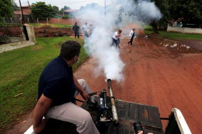 A government employee fumigates to combat dengue in San Lorenzo, Paraguay.