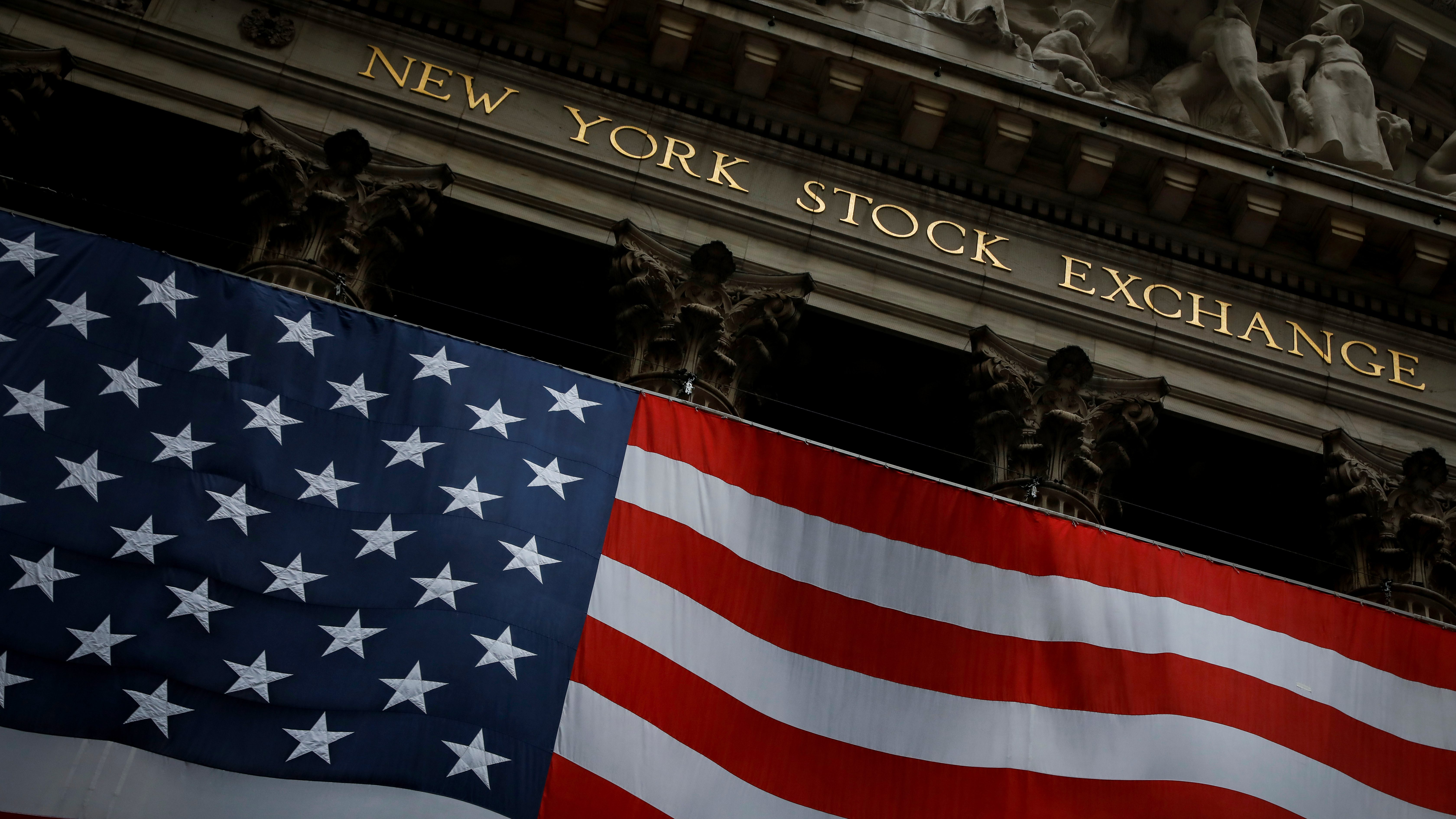 The New York Stock Exchange (NYSE) is seen in the financial district of lower Manhattan.