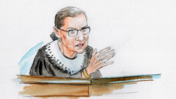 Court sketch of Ruth Bader Ginsburg by Art Lien