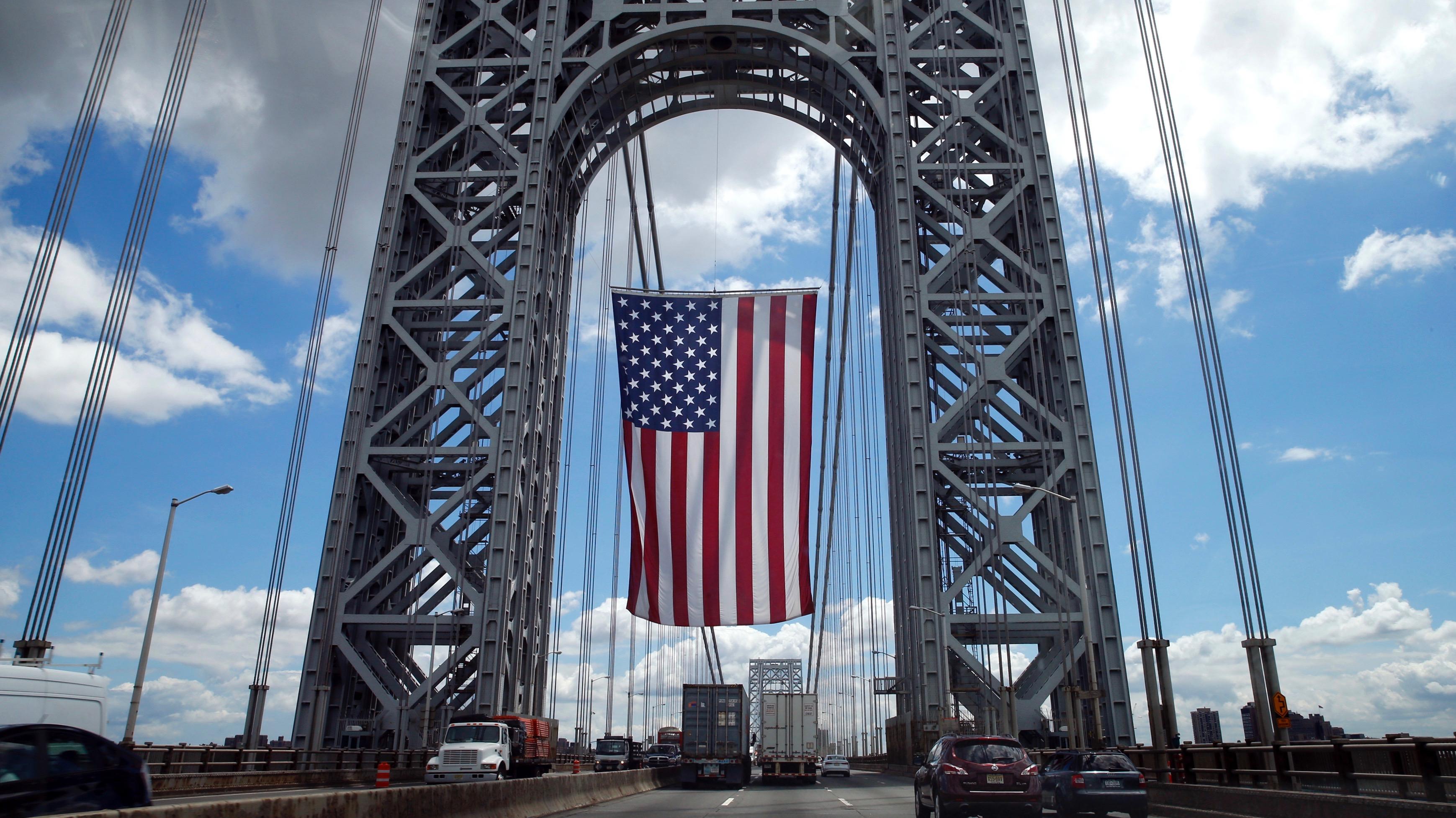 US flag over the GW Bridge.