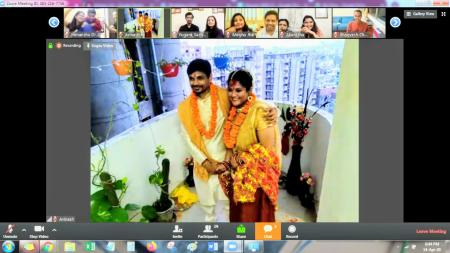 The Hindu wedding rituals in the balcony of the couple's Gurugram flat.