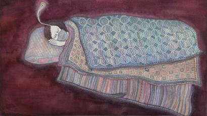 Dhruvi Acharya's painting about Covid-19.