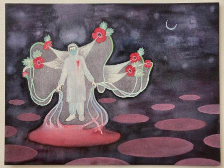 Dhruvi Acharya's painting feature healthcare workers.