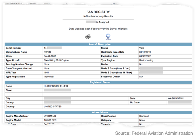 "Screenshot of FAA registry record showing the registered owner of a plane as ""HUGHES MICHELLE R."""