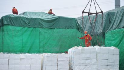 Workers wearing face masks unload imported paper pulp from a cargo ship at a port in Qingdao, Shandong province, China February 11, 2020.
