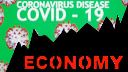 "A terrible graphic of the words ""Coronavirus"" with the word ""economy"" in front of it and what looks like a bad line chart"