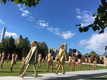 Models wear the Yeezy Season 4 collection by Kanye West during a fashion show